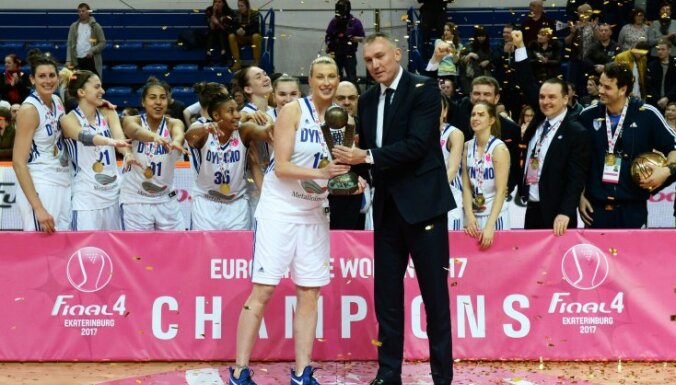Dynamo and coaching staff with Matins Zibarts win  Euroleague Basketball Final Four