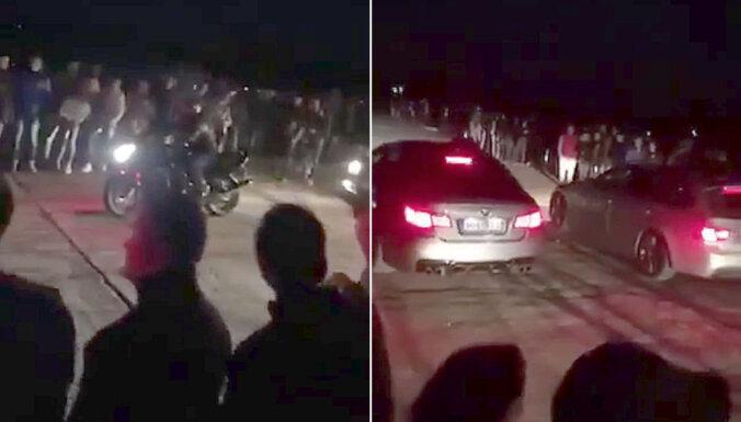 ВИДЕО: Нелегальный драгрейс в Румбуле собрал около 800 человек