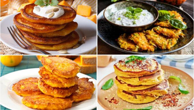 Zeltainas ķirbju pankūkas: 11 receptes, kas liks tev iemīlēt lielo, oranžo ogu