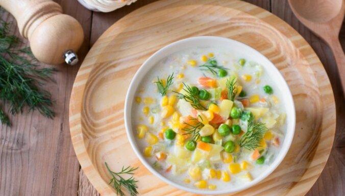 Ātrā dārzeņu - piena zupa