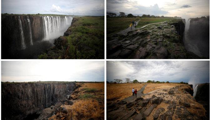 ФОТО: Водопад Виктория обмелел до тонкой струйки