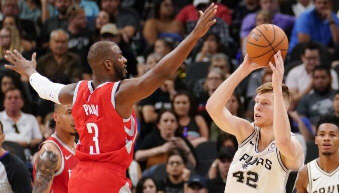 Dāvis Bertāns 'Spurs' pārbaudes spēlē gūst divus punktus