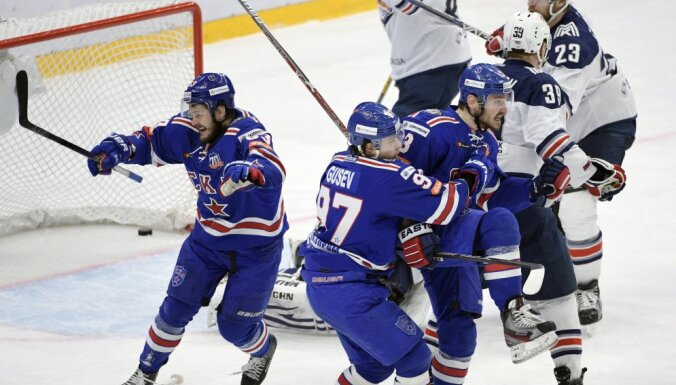 SKA Yevgeny Dadonov, Nikita Gusev, Dinar Khafizullin celebrate goal