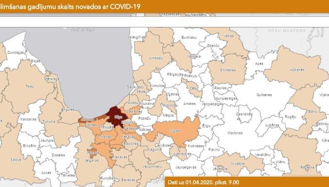 Covid-19 Latvijā: Saslimšana konstatēta arī Baldones un Valkas novadā