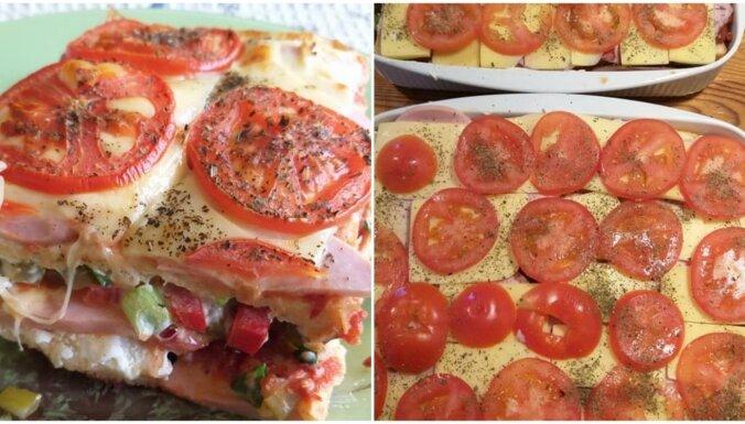 Foto recepte: ātrais tostermaizes sacepums ar gaļu, tomātiem un sieru