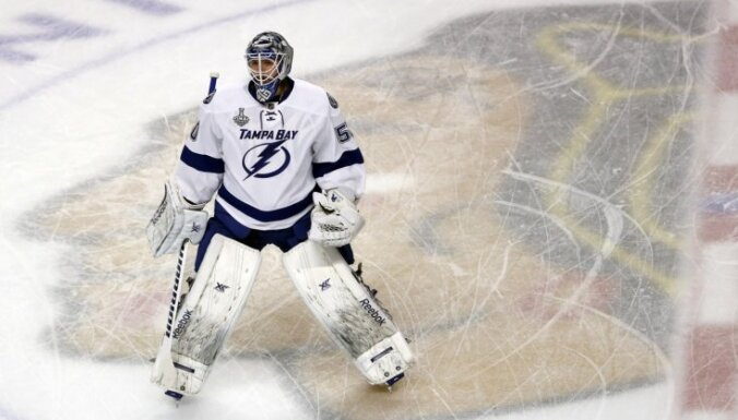 ВИДЕО: Гудлевскис признан третьей звездой в своем первом матче сезона НХЛ