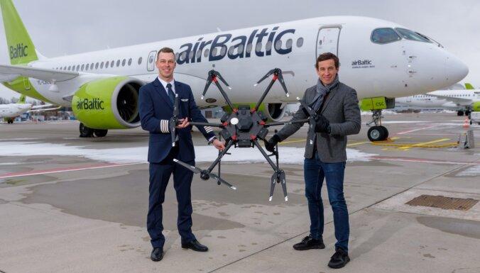 'airBaltic' un 'LMT' sadarbosies dronu inovāciju jomā