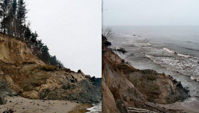 ФОТО: в Лабрагсе из-за сильного дождя обвалился берег