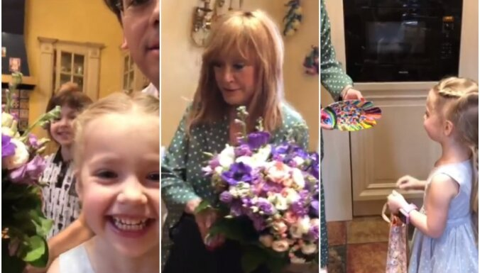 Sirsnīgs video: Galkins ar bērniņiem sveic mīļoto Allu jubilejā
