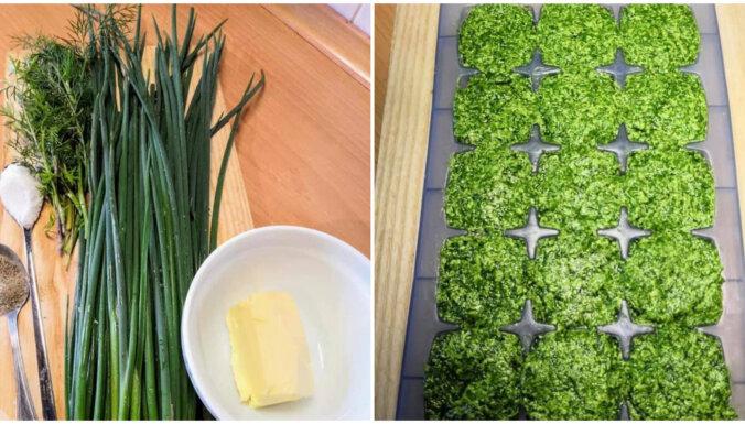 Foto recepte: Saldēti zaļumu pesto kubiņi ziemas krājumiem