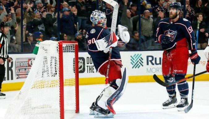 Latvieši spīd NHL: Girgensons iemet tukšos vārtos, Merzļikinam spēles otrās zvaigznes gods