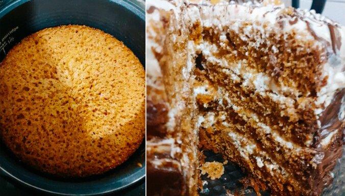 Multikatlā gatavota, sulīga medus kūka