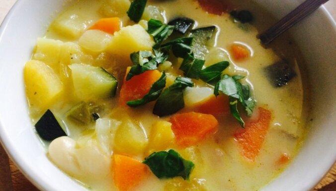Осенний овощной суп с плавленым сыром