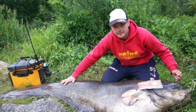 Литовский рыбак поймал гигантского двухметрового сома