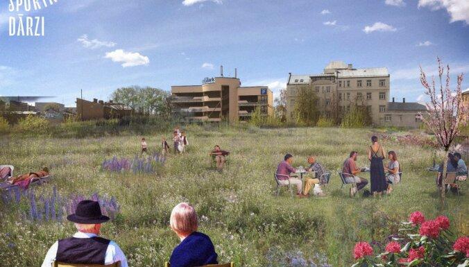 Bijušās Rīgas Sporta pils teritorijā plāno uz laiku ierīkot mazdārziņus un ziedu pļavu