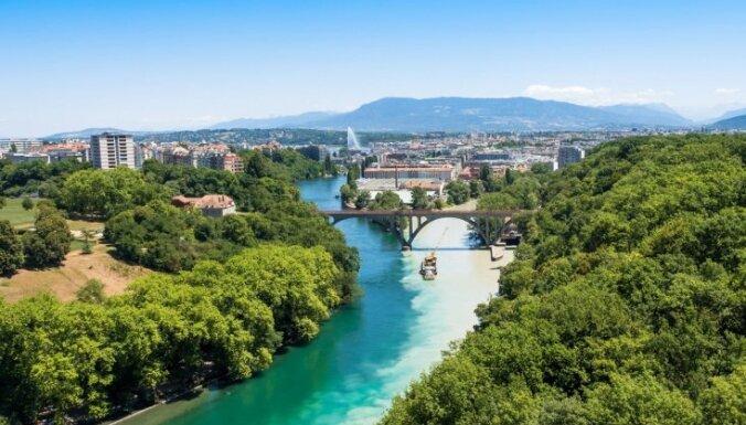 Savdabīgs krustojums Ženēvā, kur satiekas divas upes