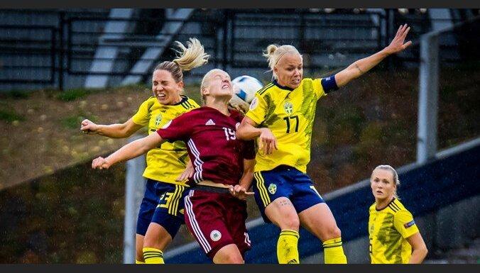 Latvijas sieviešu futbola izlase EČ kvalifikācijas turnīrā piedzīvo graujošu zaudējumu Zviedrijai