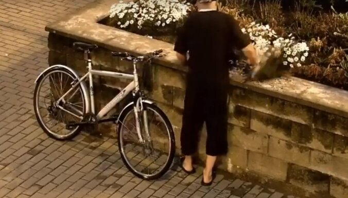 ВИДЕО: Задержан мужчина, который рвал с клумбы цветы и складывал в рюкзак