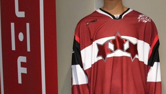 Foto: Latvijas Hokeja federācija publisko jauno logo un pārbaudes spēļu kreklus