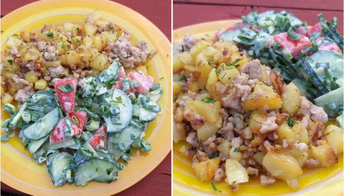 Pannā cepti kartupeļi ar malto gaļu