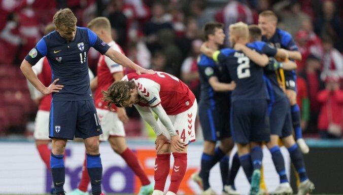 Somijas vēsturisko uzvaru Kopenhāgenā aizēno cīņa par Ēriksena dzīvību futbola laukumā