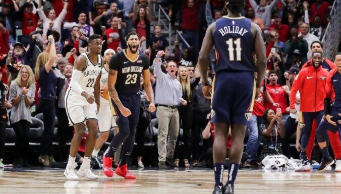 'Nets' bez Kuruca minimāli zaudē 'Pelicans'