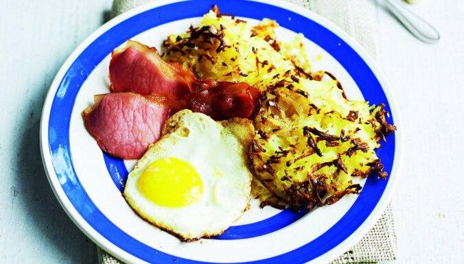 Cepta ola ar šķiņķi un kartupeļu pankūkām