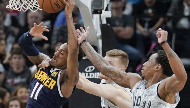 Bertāns ar diviem precīziem tālmetieniem kaldina 'Spurs' uzvaru pār 'Nuggets'