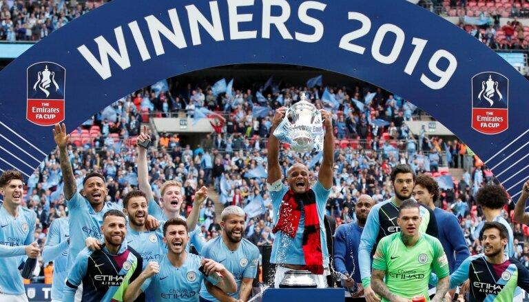 Mančestras 'City' triumfē FA kausā un pārraksta Anglijas futbola vēsturi