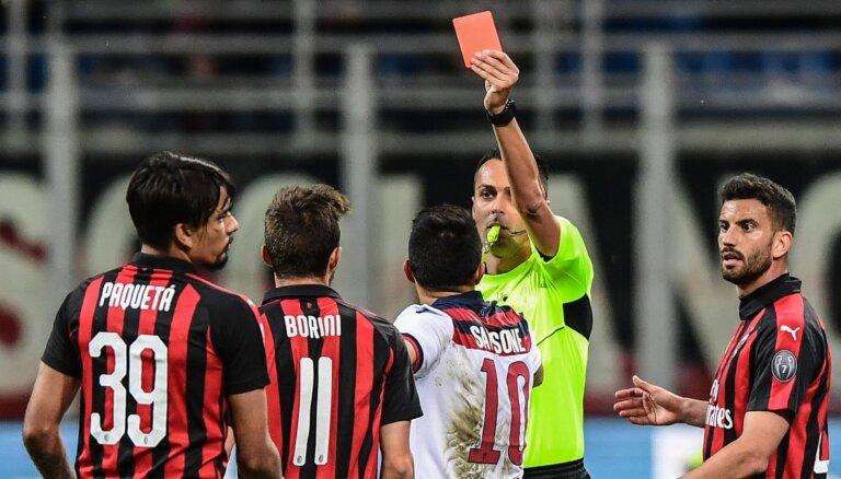 UEFA uz nākamo sezonu diskvalificē 'AC Milan' no Eirokausiem
