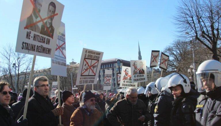 Шествие 16 марта вылилось в противостояние легионеров и антифашистов (фото, видео)