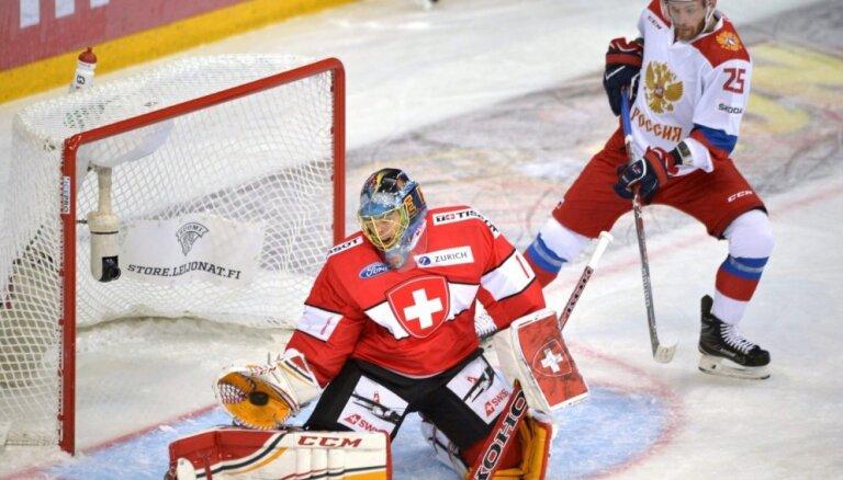 Krievijas hokejisti Eirotūres posma spēlē pārspēj Šveici
