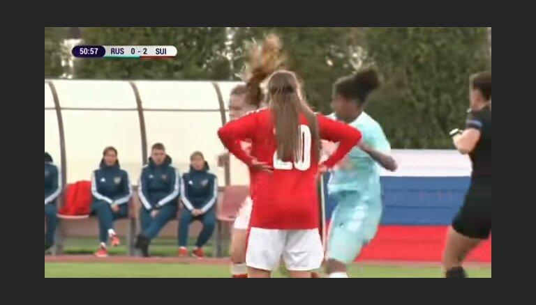 ВИДЕО: Футболистки сборных России и Швейцарии устроили драку во время игры