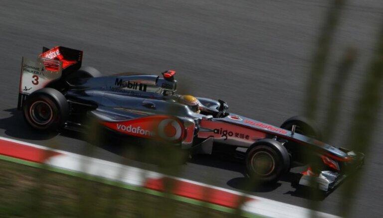 Hamiltons ātrākais otrajā treniņā Interlagosā