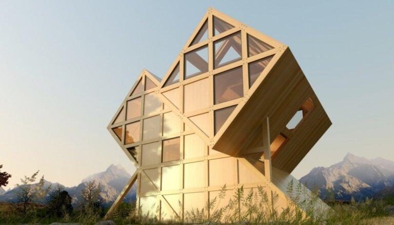 Foto: Unikāla ģeometrisku formu brīvdienu māja