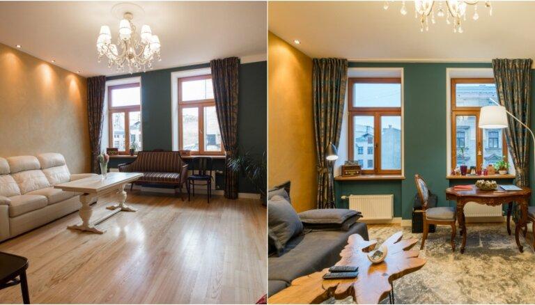 Pirms un pēc pārvērtībām: dzīvoklis mājā, kur reiz dzīvoja Kārlis Ulmanis
