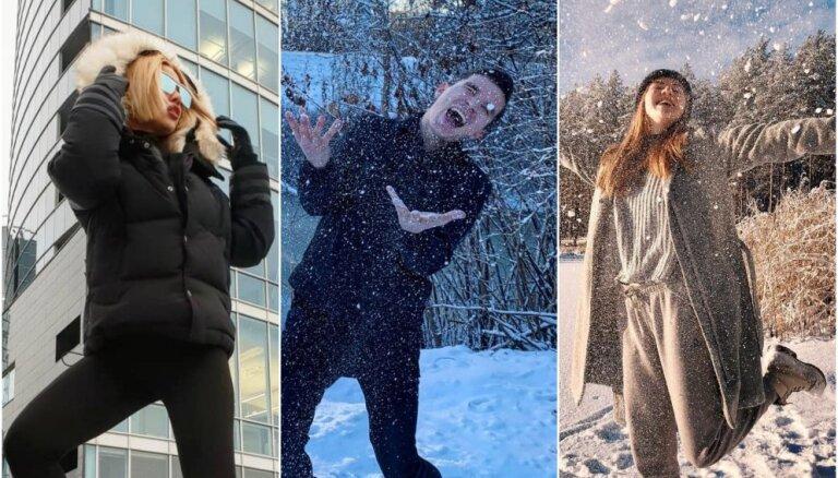 Ziemīgi kadri: Slaveni latvieši jūsmo par pirmo sniegu