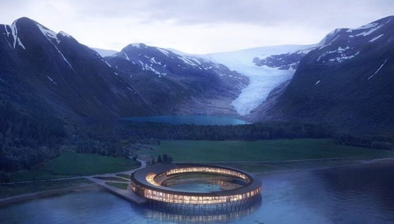 Starp kalniem, virs ūdens un netālu no ledāja: Norvēģijā taps eleganta viesnīca
