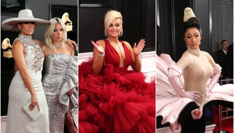 Dekoltē un stila kļūmes: 'Grammy' ceremonijas iespaidīgākie tērpi