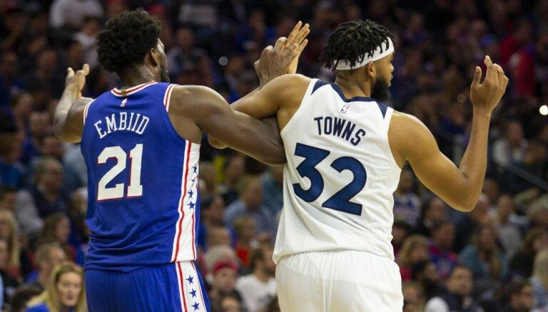 NBA pēc 'milžu cīņas' diskvalificē vaininiekus Embīdu un Taunsu