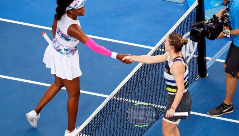 Halepa uzveic Venusu Viljamsu un izjauc māsu dueli Austrālijas atklātā čempionāta astotdaļfinālā