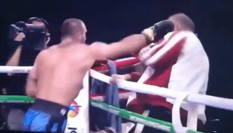 Video: gruzīnu bokseris iekausta treneri Latvijas jakā