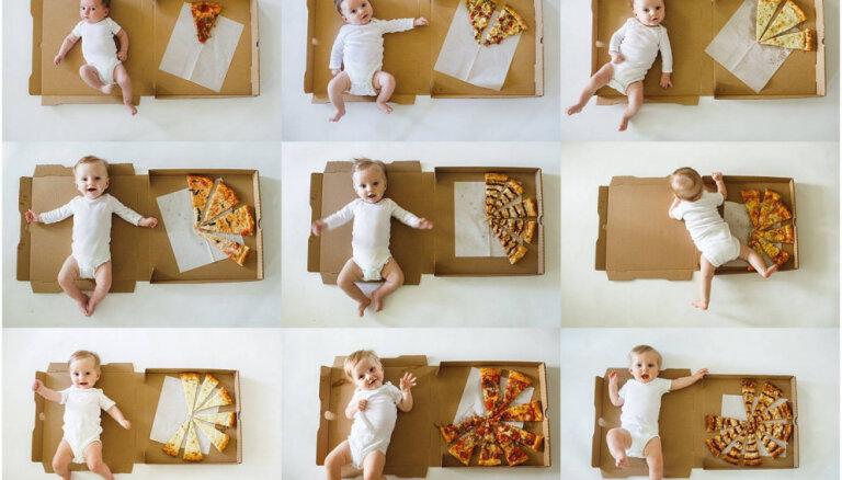 Foto: Mamma izmanto picas šķēles, iemūžinot sava bērna dzīves pirmos 12 mēnešus