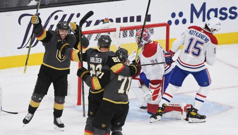 'Golden Knights' hokejisti Stenlija kausā pārtrauc 'Canadiens' uzvaru sēriju