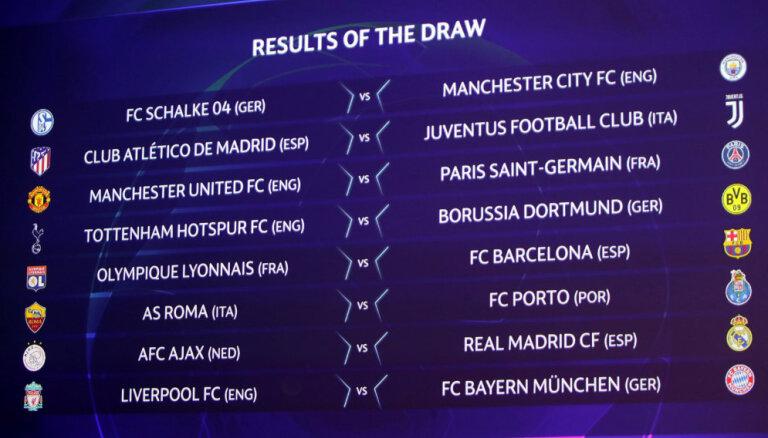 'Liverpool' pret 'Bayern' un 'Atletico' pret 'Juventus' – UEFA Čempionu līgā noskaidroti astotdaļfinālu pāri