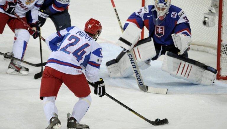 Krievijas hokeja izlase uzvar Slovākiju un nodrošina sev vietu 'play-off'
