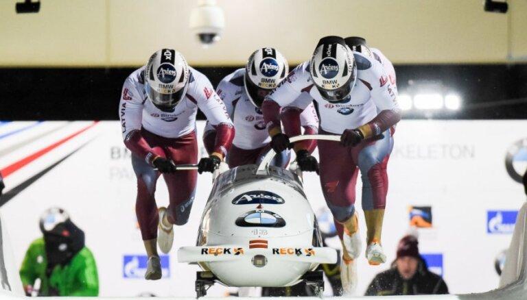 Ķibermaņa četriniekam piektā vieta Vinterbergā; triumfē Vācijas bobslejisti