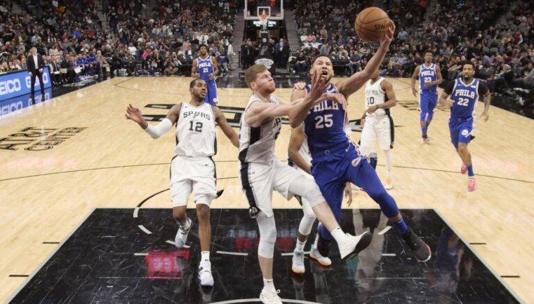 Bertāns ar 16 punktiem kaldina 'Spurs' uzvaru pār '76ers'