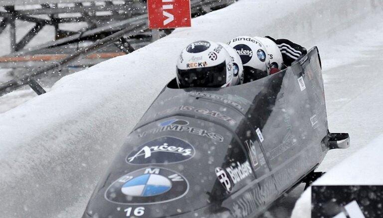 Foto: Latvijas bobslejisti atkārto Vinterbergas trases rekordu