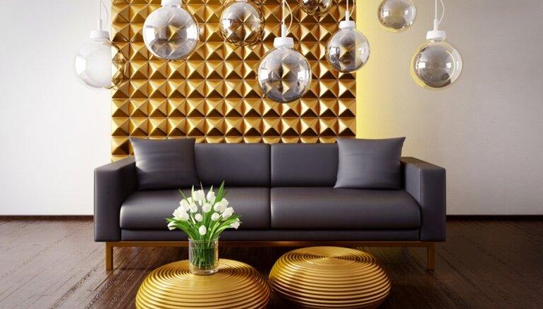 Ar zeltu pielietas istabas – idejas spožam interjeram